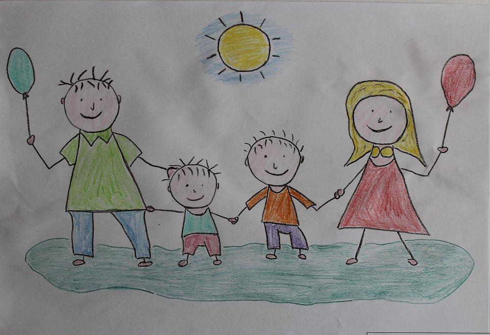 Моя семья картинки нарисованные
